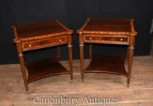 Pair Regency Mahogany Side Tables Cocktail Table