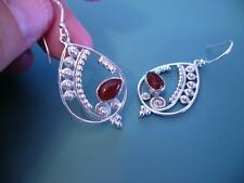 LARGE STERLING SILVER & RED ONYX FILIGREE GEMSTONE DROP EARRINGS - 5G