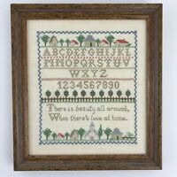 Framed Cross Stitch Sampler Needlework Art Alphabet Home Love Farmhouse Decor