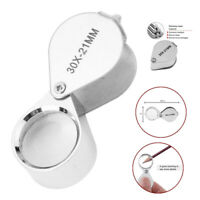 30x 21mm Magnifying Glass Jeweler Eye Jewelry Loupe Loop Magnifier Silver US
