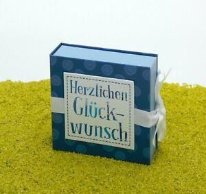 Hergo Geschenkbox Geschenkschachtel mit Schleife - Glückwunsch 10 x 10 cm