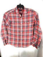 UNTUCKit Red Plaid Linen Shirt Button Long Sleeve Mens Size Medium A11