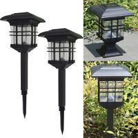 2 ×Solar LED Waterproof Light Sensor Post Lawn Lamp Outdoor Garden Decor Lights