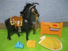 LoViNg FaMiLy DoLL HoUsE Home & Stable HORSE Pony Neighs Black Western Saddle ++