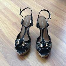 Kurt Geiger Black Evening Shoes Size 4 (37) With Silver Gem Detail