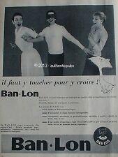PUBLICITE BAN LON VETEMENT TEXTILE ROBE BONNETERIE CHAT DE 1956 FRENCH AD PUB