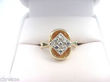 BRIGHT LIVELY VINTAGE 1960's DIAMOND CLUSTER  .30 TCW 14K GOLD RING