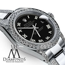 Women's 26m SS Rolex Oyster Perpetual Datejust Custom Diamond Black Tone Roman