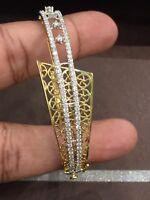 Pave 1,46 Cts Runde Brilliant Cut Diamanten Armreif Bracelet In Feines 14K Gold