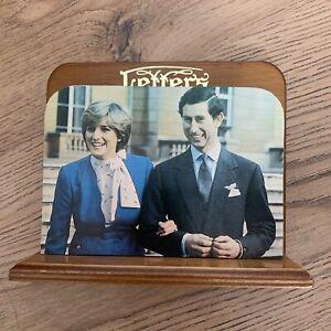VTG 80s Wooden Letter Rack Holder Royal Family Charles Diana Engagement Kitsch