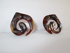 Vintage Taxco Mexico Signed Sterling Faux Tortoise Shell Earrings