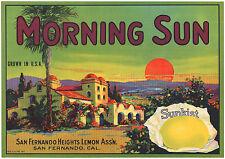 *Original* MORNING SUN Sunrise MISSION SAN FERNANDO Lemon Label NOT A COLOR COPY