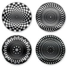 Kikkerland Moire Rotating Kaleidoscope Coasters  - MULTI-COLOR - set of 4