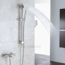 Stainless Steel Wall Mount Bathroom Slide Bar Shower Rail Hand Spay Faucet Mixer