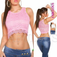 Sexy Womens Lace Crop Top Hot Casual Party Evening Shirt Blouse Size 8 10 S / M