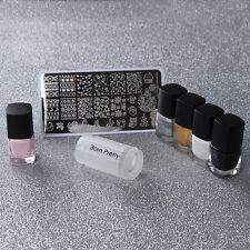 8stk Weihnachten Nagel Schablone 4x Stempellack & Pink Flüssiglatex & Stamper