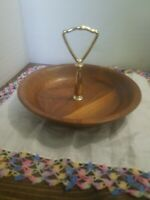 Vintage Real Walnut Vermillion Inc. Wood Nut And Candy Dish Beautiful 8 in