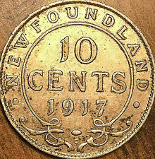 1917 NEWFOUNDLAND SILVER 10 CENTS COIN - Excellent example!