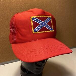 Vintage Confederate Flag Trucker Hat 80s snapback cap fishing Mississippi YA