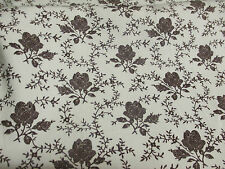 Duck Egg & Black Gothic Flowers, Floral Printed 100% Cotton Poplin Fabric