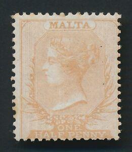 MALTA STAMP 1861 QV SG #2 1/2d BROWN-ORANGE NO WMK MINT OG SUPER CLASSIC CV £850