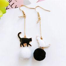 Cute Cats Pom Pom Earrings Ball Drop Dangle Ears Studs  Women Charm Jewelry