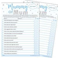 Baby Shower Game 20 Player MUMMY OR MUM Blue Stars Party Same sex couple