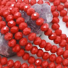 Lot of 5 Std 36 pcs 10mm Chinese Glass Loose Beads Faceted Rondelle Red Opaque