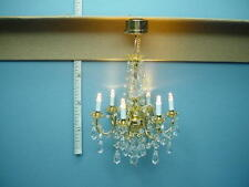 Dollhouse Miniature Battery Operated Light 6 Arm Crystal Chandelier #C41S 1/12th