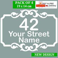 4 X Recycling Wheelie Bin Custom Vinyl Stickers House Number Street Address