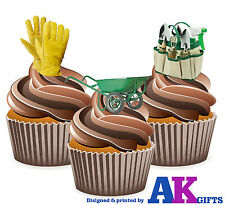 Gardener Gardening Tools Birthday Party 12 Cup Cake Toppers Edible Decorations