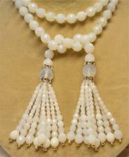 "JOAN RIVERS GOLD EP WHITE OPALIN CZECH GLASS BEAD 45"" LARIAT NECKLACE TASSEL NEW"