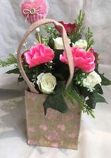 Mères Jour soie artificielle fleur Sac cadeau de Hesse vintage Anémone Rose livrer