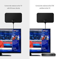 25 Mile Long Range HDTV Indoor Flat Antenna Amplified VHF UHF for Digital TV HD