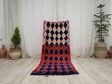 Tribal Moroccan Handmade Vintage Rug 2'7x6'8 Berber Geometric Pink Blue Wool Rug
