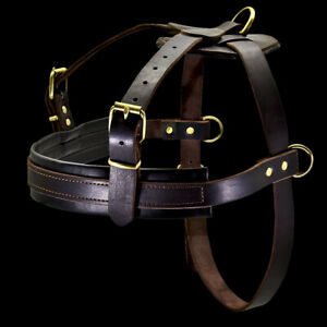 Leather Dog Harness Heavy Duty No Pull Weight Pulling K9 Training Working Vest