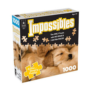 New - BePuzzled Impossibles Puzzle - Awww... Sleeping Puppies: 1000 Pcs