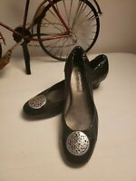 BRIGHTON Women's Shoes  MARCI Pewter & Black Pumps Leather low heel 6 M