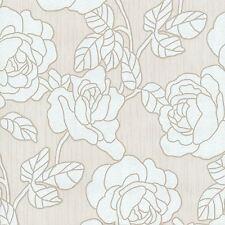 OPAL FLORAL GLITTER WALLPAPER CREAM / WHITE - P+S 02492-60 FLOWERS