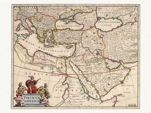 Old Antique Decorative Map of Turkey Ottoman Empire de Wit ca. 1682