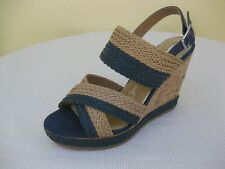 MARIAMARE Womens Shoes NEW $65 66794 Braided Navy Blue Beige Wedge 40 US 9