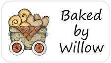 65 Personalised Baked by Mini Stickers Labels Basket Bread Cookie Design
