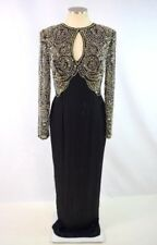 Vtg 80s Black Silk Sparkly Gold Pearl Bead Sequin Long Sleeve Shirt Maxi Dress S