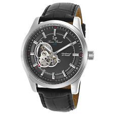 Lucien Piccard 40006M-01 Mechanical Black Leather and Black Dial Men's Watch