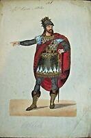 antico Acquerello Costume Bozzetto Teatro primo '900 ATTILA Opera Giuseppe Verdi