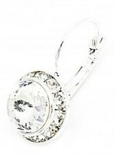Silver Plated Leverback Earrings Swarovski ® Elements-10Mm -Crystal Clear-