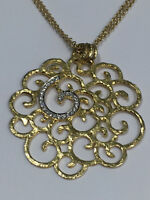 18K Yellow Gold Filigree and Diamond Necklace on Double Chain