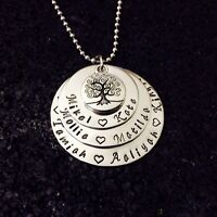 personalised  hand stamped stainless steel 3 tier washer tree of life necklace