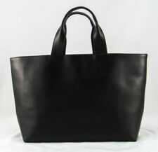 Black structured minimalist high quality genuine leather tote w/ double handles