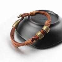 Women Mens Surfer Cool Hemp Cords PU Leather Wrap Bracelet Wristband Cuff Brown